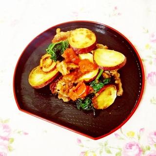 柿醤油風味♪さつまいも&かつお菜と豚肉の蒸し炒め