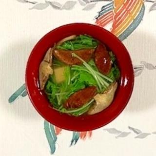 水菜、塩とうふ、落葉きのこのお味噌汁
