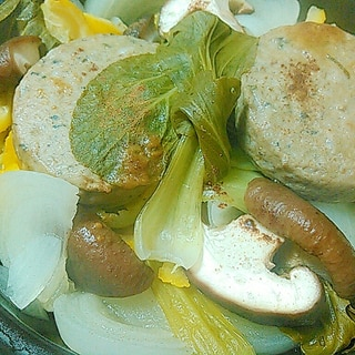 いわしハンバーグと季節野菜の蒸しプレート