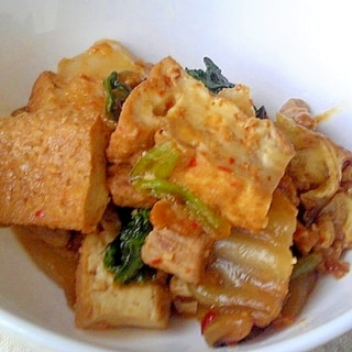 厚揚げと豚肉と白菜の辛味噌炒め