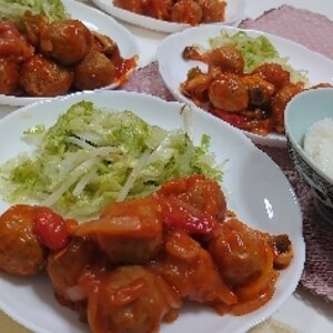 簡単☆冷凍肉団子の甘酢あんかけ