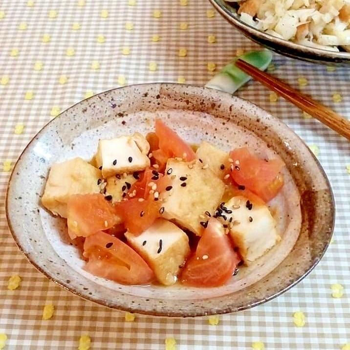 ♪レンジで3分♡厚揚げとトマトの和風温サラダ♪