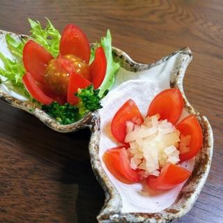 お弁当の彩りに♪トマトの飾り切りお漬物カップ