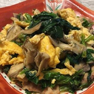 豚肉とほうれん草と卵の炒め物