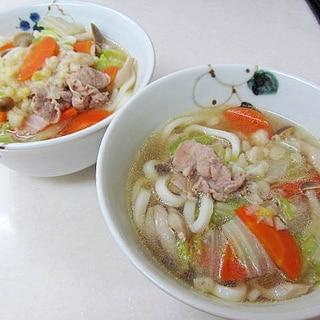 *ヒガシマルうどんスープで☆肉うどん*