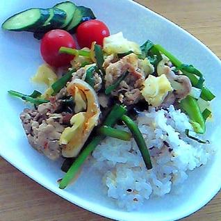 ワンプレートに 簡単・豚肉のハーブオイル野菜炒め
