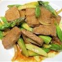 簡単☆アスパラ・玉葱・牛肉の焼肉のたれ炒め