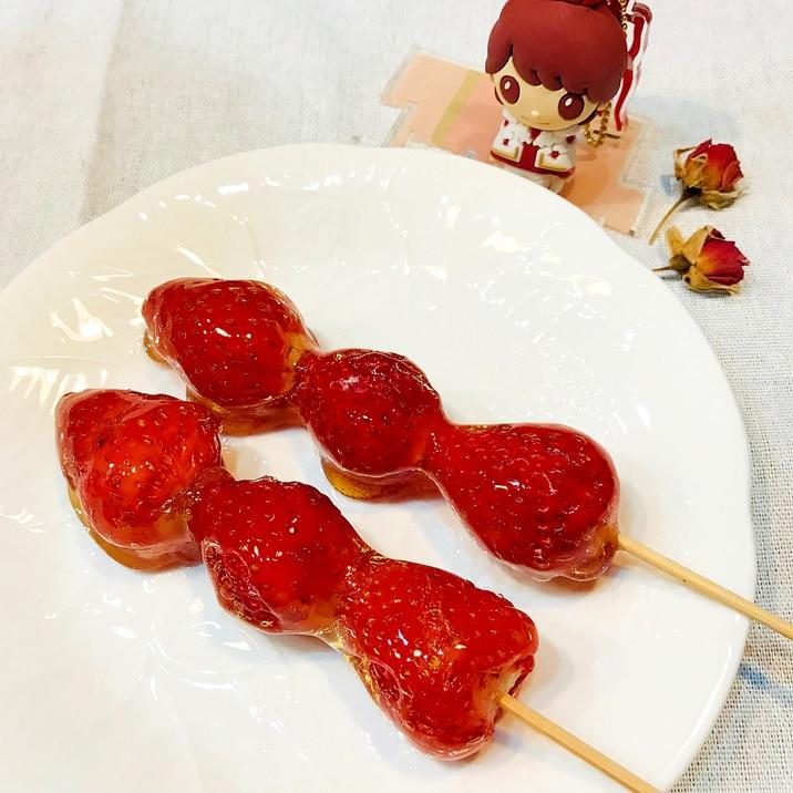 子供と一緒に簡単お菓子カリッ、じゅわ〜♡のいちご飴