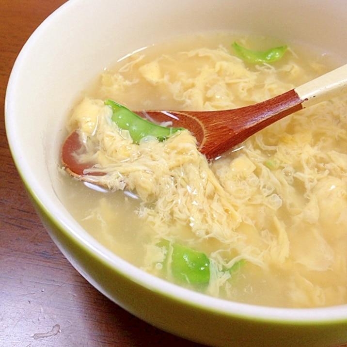 絹さやと卵のスープ