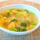 大根と小松菜と卵の水餃子スープ