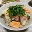 白だしで簡単!鮭ハラスとしめじの炊き込みご飯