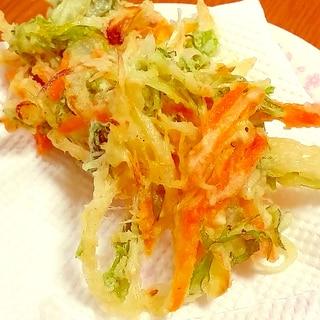 サクサク♪水菜と人参、玉ねぎのかきあげ☆