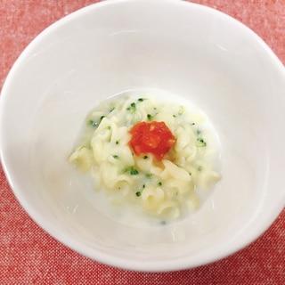 【離乳食後期】ブロッコリーとミニトマトのマカロニ