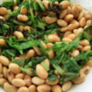 京菜と大豆としその実の和え物