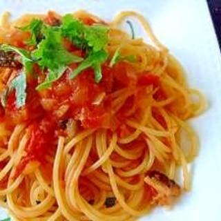 青じそでさっぱり!自家製トマトソースのスパゲティー