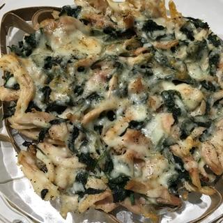コストコのロティサリーチキン活用、法蓮草チーズ焼き