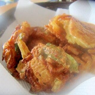新玉葱とピーマンと小海老の天ぷらグリル