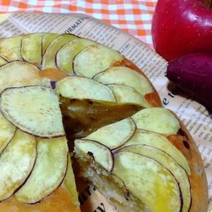【炊飯器で】さつまいものスライスケーキ☆リンゴ入り