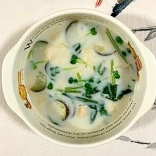 茄子とほうれん草の豆乳スープ