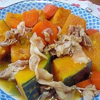 「かぼちゃと人参、豚肉の蜂蜜牡蠣醤油煮」  ♪♪