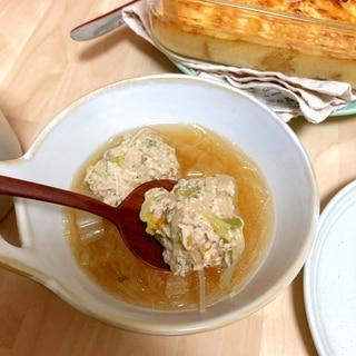 長ネギ入り鶏団子の春雨スープ