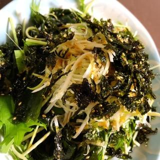 水菜とワカメのチョレギサラダ風