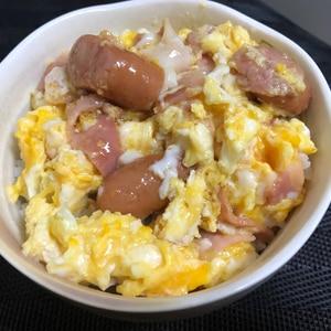 悪魔飯★ウィンナー&ベーコンのトロトロ卵丼