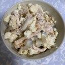 サラダチキンとレンコンの崩し豆腐