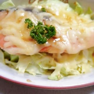 キャベツ鮭チーズのオーブン焼き