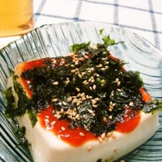 キムチの素と韓国海苔の韓流冷奴