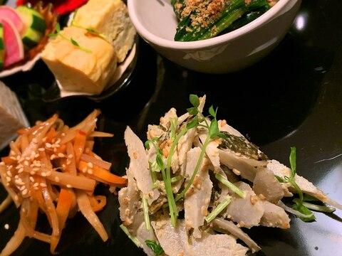牛蒡と高菜の山椒マヨ胡麻和え