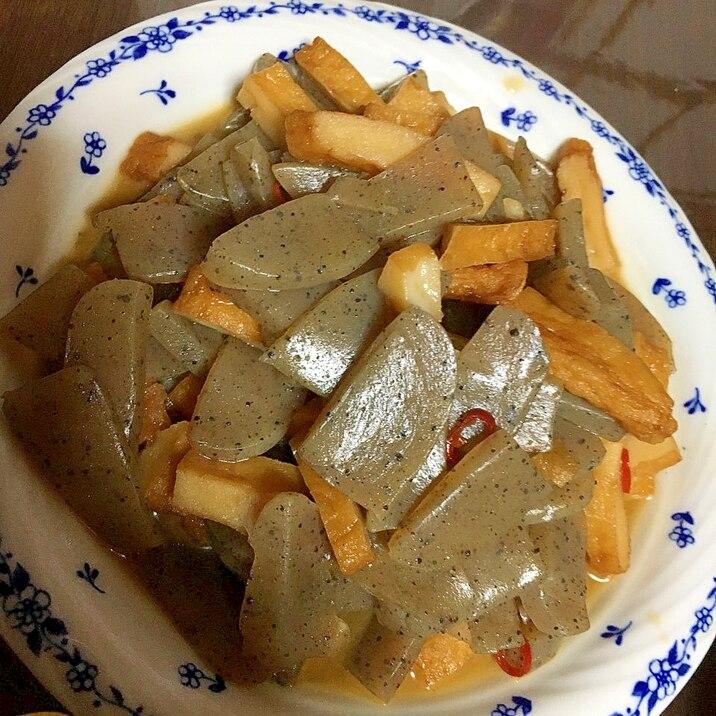 簡単さつま揚げと蒟蒻のピリ辛炒め煮