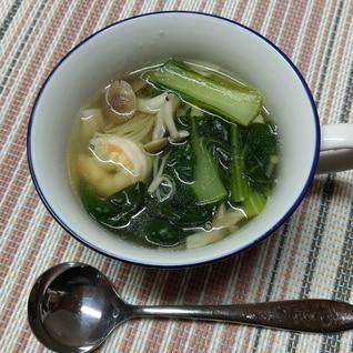エビとタアサイの中華風スープ