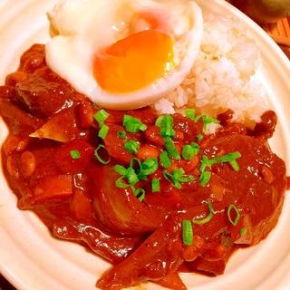 新玉葱と生椎茸のヘルシー辛口!納豆八丁味噌カレー