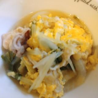 素材の味が生きてる♡水菜と油あげと豚肉の卵とじ