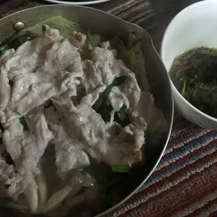 ポン酢でさっぱり豚ニラキャベツ鍋