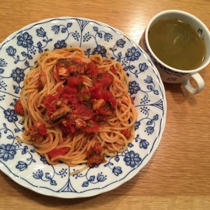昨日作りました。トマトはトマト缶で。大葉の代わりに庭のミツバで。とっても美味しく出来ました。スープも!いいレシピを教えて下さってありがとうございました!♡