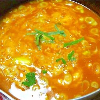 スンドゥブスープの残りにご飯を入れて雑炊風