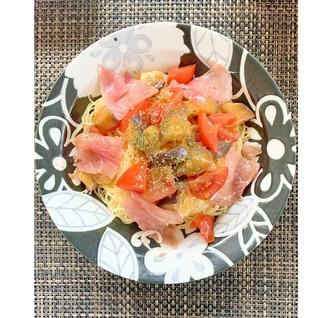 茄子とトマトと生ハムの冷製パスタ