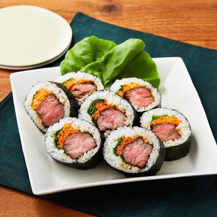 肉の巻き寿司!おもてなしにも★贅沢中落ち一本巻き