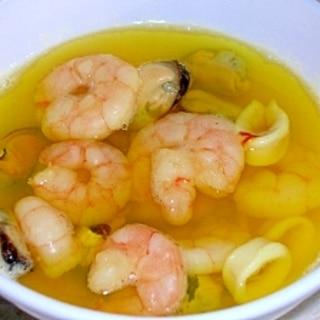 冷凍シーフードミックスde簡単ブイヤベース風スープ