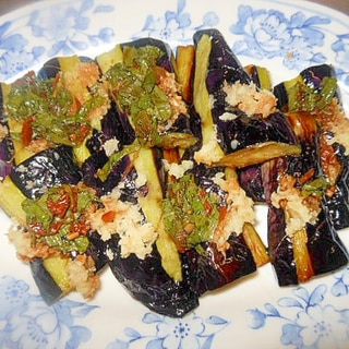生姜たっぷり~大葉・にんにく醤油で長茄子の素揚げ