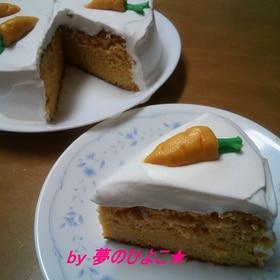 素朴な甘さ♪ニンジンケーキ★デコは豆乳クリーム