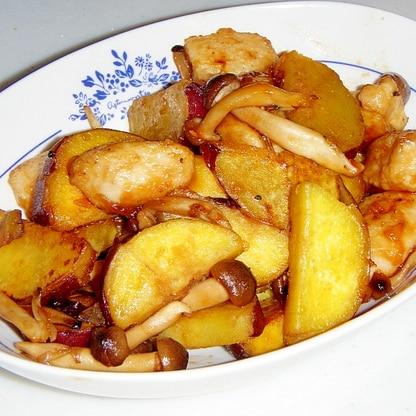 秋の味覚★さつまいもと鶏肉の甘辛炒め