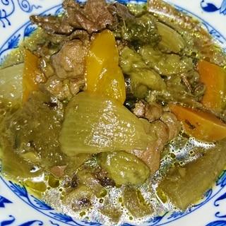 ご飯にのせても美味しい、なすと季節野菜と牛肉炒め物