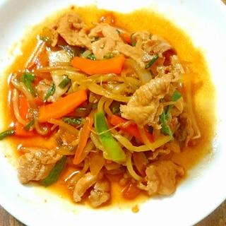 野菜たっぷり☆豚肉でプルコギ風炒め
