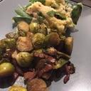 芽キャベツとベーコンのオーブン焼きとスタンポッド