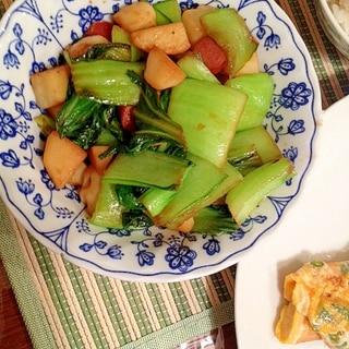 青梗菜とソーセージと新じゃがいも炒め