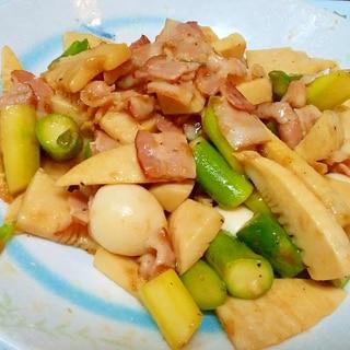 穂先タケノコとうずらの卵とアスパラの中華炒め♪