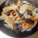 豚肉ときくらげと新玉ねぎの炒め物